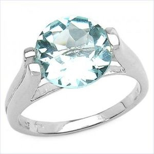 Wt Gold Rhodium Over Sterling Silver 3.80 CT Topaz